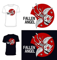 Skeletons t shirt fallen angel vector