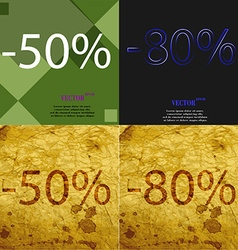 80 50 icon set of percent discount on abstract vector