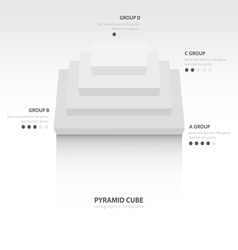 Pyramid cube infographic top view white color vector