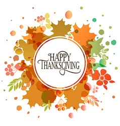 Happy thanksgiving day watercolor logotype badge vector