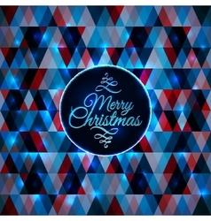Merry christmas card abstract blue geometric vector