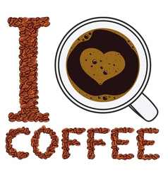 I like coffee isolated objects vector