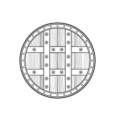 Outline medieval round shield icon vector