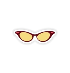 Paper sticker on white background glasses women vector