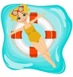 Little cute girl floating on an inflatable circle vector