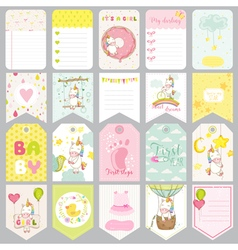 Baby unicorn tags baby banners scrapbook labels vector