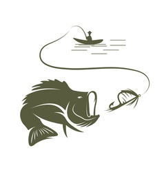 Fisherman in a boat and largemouth bass vector
