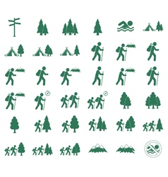 Set of tourism icons by system vector