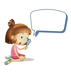Cartoon girl magnify speech vector