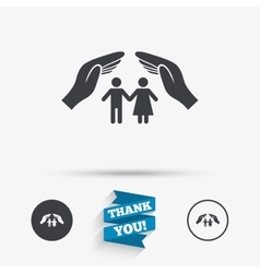 Couple life insurance sign icon hands protect vector