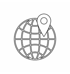 Globe and map pointe icon outline style vector