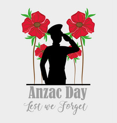 Anzac day with soldier memorial holiday vector