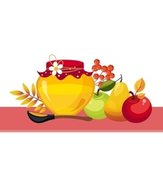 Autumn harvest with jar and fruits vector