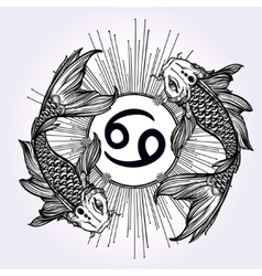 Beautiful line art of zodiac pisces vector