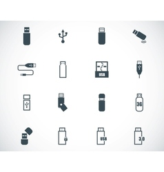black usb icons set vector image