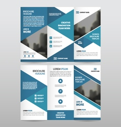 Blue business trifold Leaflet Brochure templates vector image vector image