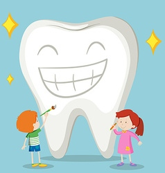 Children and clean tooth vector