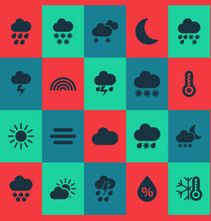 Climate icons set with night humidity heavy rain vector