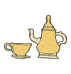 comic cartoon coffee pot and cup vector image