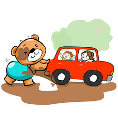 Cute bear help car stuck on mud vector