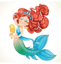 Cute mermaid girl before the mirror vector image