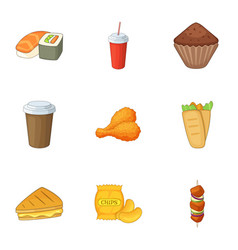 delicious fast food icons set cartoon style vector image