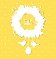 easter paper decoration in form of easter wreath vector image