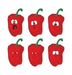 Emotion cartoon red pepper vegetables set 004 vector image vector image