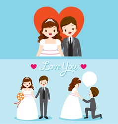 Fat bride and groom in wedding clothing set vector