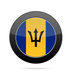 Flag of barbados shiny black round button vector