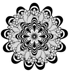 Flower ornament black and white vector