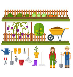 Gardening set rural landscape with garden vector