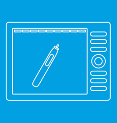 graphics tablet icon outline style vector image