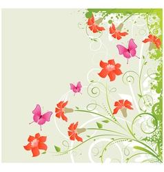 Grunge floral corner vector