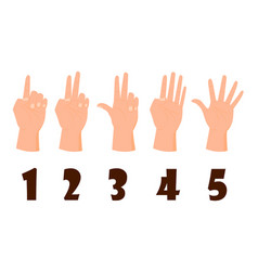 Hand count flat finger and number isolated vector