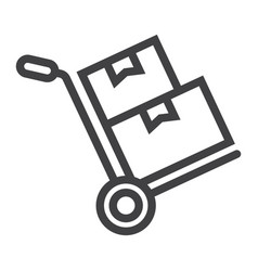 Hand truck with cardboard boxes line icon vector
