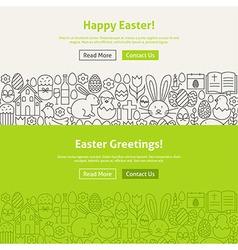 Happy easter line art web banners set vector