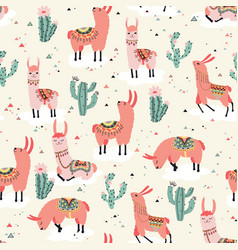 Happy lama seamless pattern vector