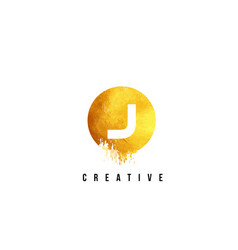 J gold letter logo design with round circular vector