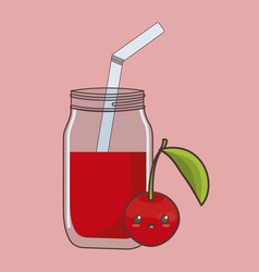 Kawaii fruit and juice icon vector