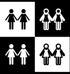 Lesbian family sign black and white icons vector