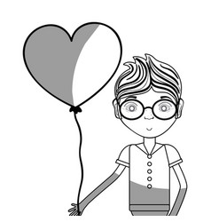 Line man with glasses and heart balloon in the vector