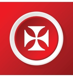 Maltese cross icon on red vector