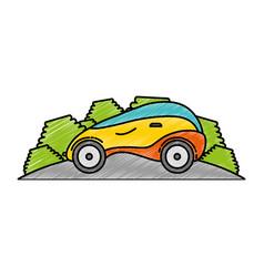 Modern car futuristic in the road vector