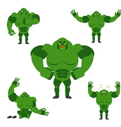 Ogre set poses expression of emotions green vector