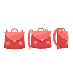 Pink school rucksack icon vector