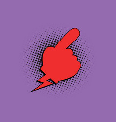 Red hand pointer comic bubble vector