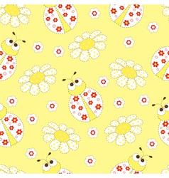 Seamless pattern with ladybugs vector