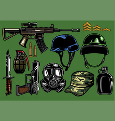Set of military objects vector