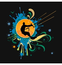 Surfer t-shirt graphics with kite vector